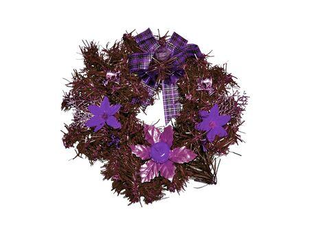 folliage: Purple xmas ring ornament isolated on white background