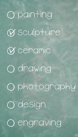 disciplines: 3D choosen arts of a list of artistic disciplines