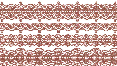 needle laces: Crochet laces abstract background illustration isolated on white