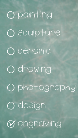optional: Engraving item choice of optional list of art disciplines