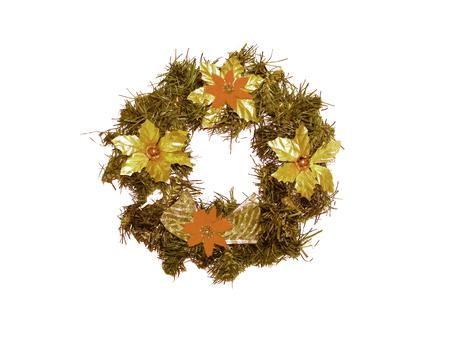 christmas crown: Navidad corona de oro aislado en blanco