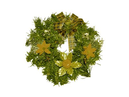 corona navidad: Anillo de la corona verde de la Navidad aislado en blanco