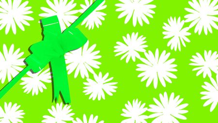 b day party: Gift background with flowers and ribbon in green