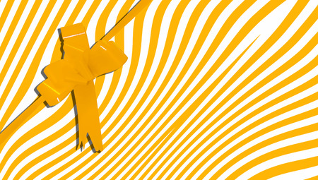 b day party: Gift box yellow stripes and ribbon dynamic background Stock Photo
