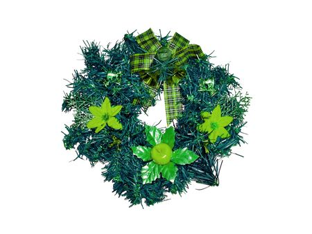 folliage: Green flower on xmas crown ring isolated on white Stock Photo