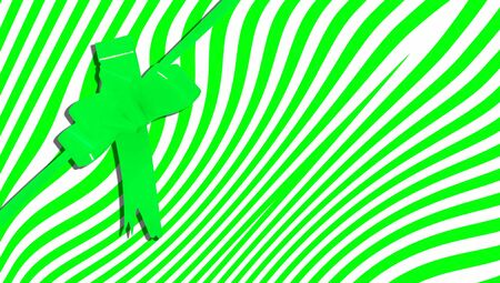 b day party: Giftbox abstract background with stripes and ribbon in green
