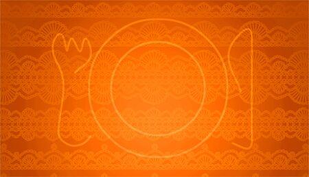 manjar: Halloween de placa de la mesa de naranja y cubiertos Foto de archivo