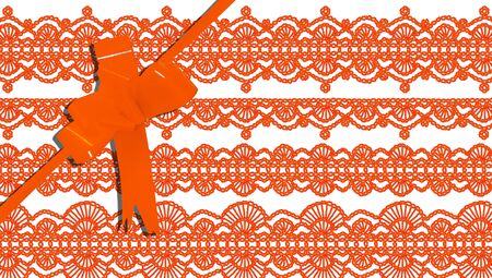 purls: Orange tied giftbox with purls background
