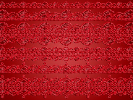 picots: Red vintage cloth pattern abstract background of crochet