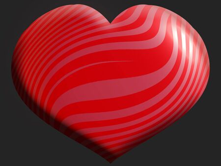 aniversaries: Big red heart of stripes on black background Stock Photo