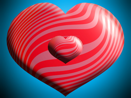 Love symbol of two red hearts
