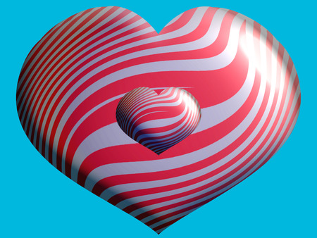 Hearts couple of balloons on blue sky Imagens
