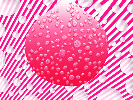 sweaty: Pink bubblegum giant bubble wet with drops on fancy background illustration Stock Photo