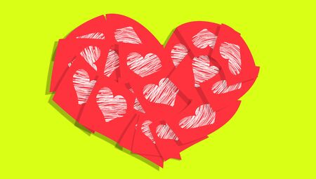 communicated: Red heart of adhesive paper notes