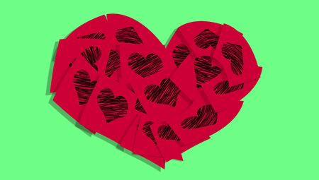 posted: Red heart of posts on green