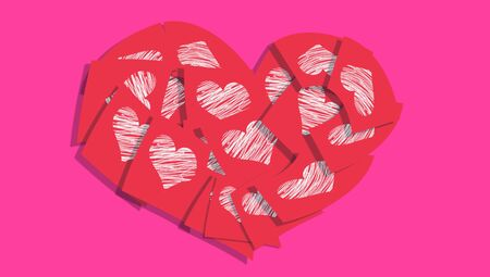posted: Red love messages notes heart on pink background