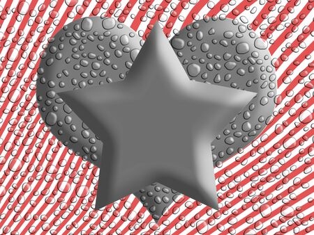 metalized: Star and heart shapes on striped wet background with water drops illustration