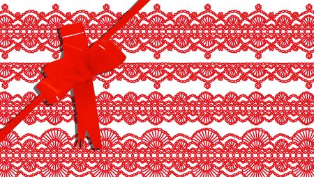 b day parties: Gift ribbon on red elegant stripes background