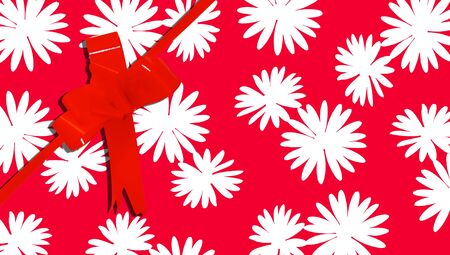 b day gift: Red present background with flowers and ribbon