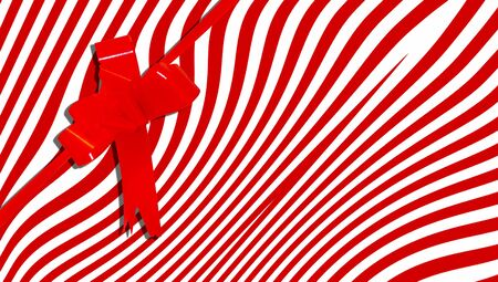 b day parties: Red gift ribbon on striped background Stock Photo