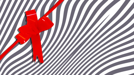 b day parties: Red present ribbon on zebra stripes background Stock Photo