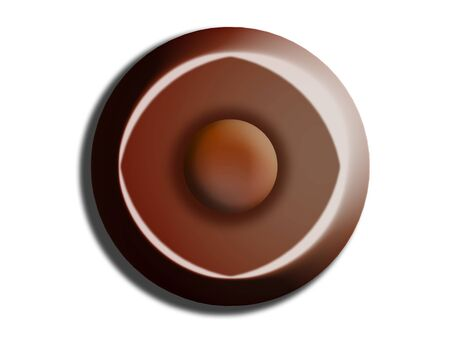 comfits: Black chocolate bombon circle isolated on white