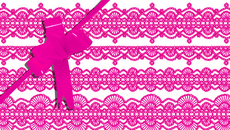 b day parties: Vintage design background for feminine gifts with pink ribbon Stock Photo