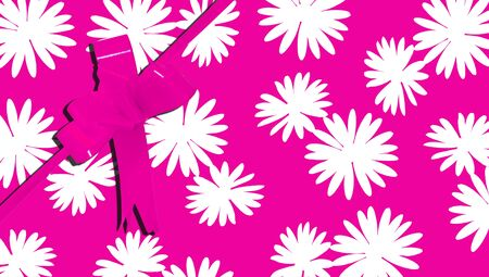 b day parties: Flowered pink gift background with a ribbon Stock Photo