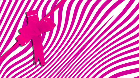 b day party: Pink stripes present background with a ribbon Stock Photo