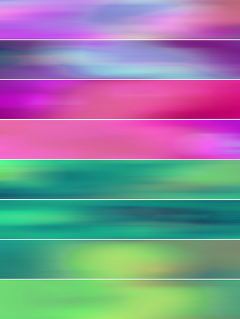 sequences: Green, pink and purple blurs banners abstract backgrounds set