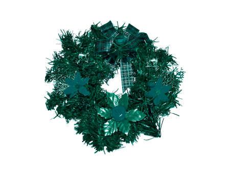 folliage: Christmas circular crown isolated on white
