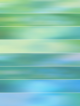 sequences: Green and blue shades abstract backgrounds banners set Stock Photo