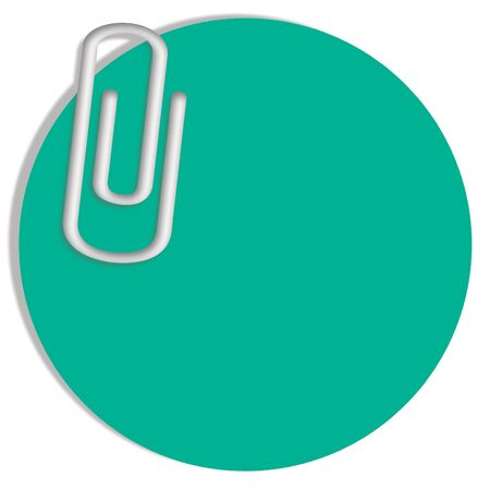 shadowed: Paperclip on circular green notepad to write Christmas messages