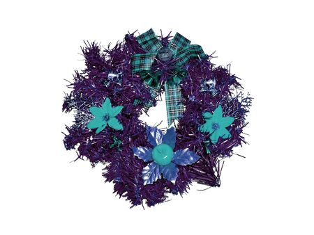 christmas ornamentation: Purple and blue xmas crown isolated on white Stock Photo