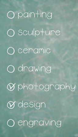 disciplines: Marked list of possible arts to study Stock Photo