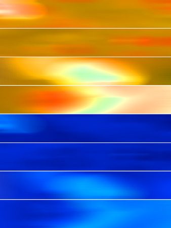 sequences: Gold and blue lights abstract banners backgrounds set