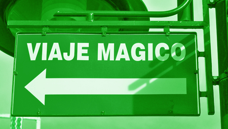 typographies: Magical eco trip arrow signal in spanish language
