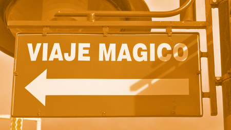 typographies: Magical trip signal with an arrow Stock Photo