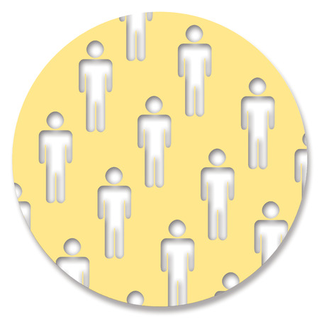 yellowish: Men silhouettes on a circle