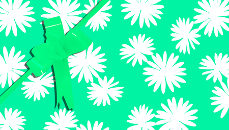 b day gift: Green Christmas flowered background for gifts