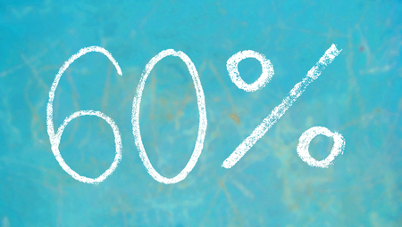 60: 60 percent chalk signs on blue background