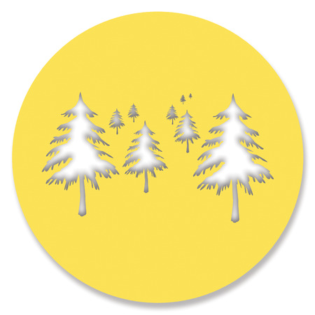 view abstract: Pines forest snowy christmas view abstract circle illustration
