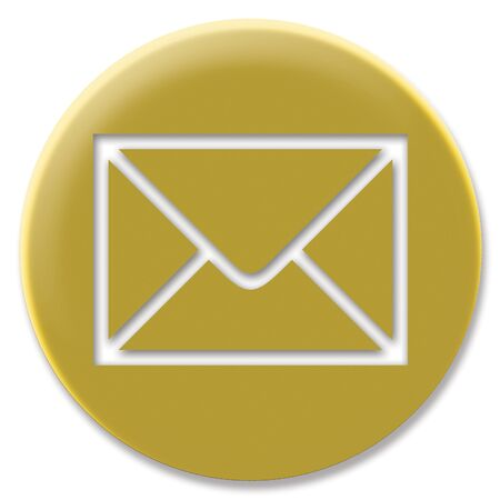 goldish: Golden wmail web button circle isolated on white