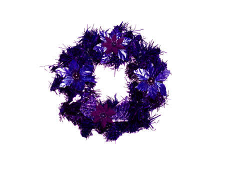 folliage: Dark blue elegant Christmas wreath Stock Photo