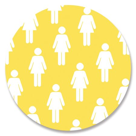 yellowish: Women silhouette on sticky note background