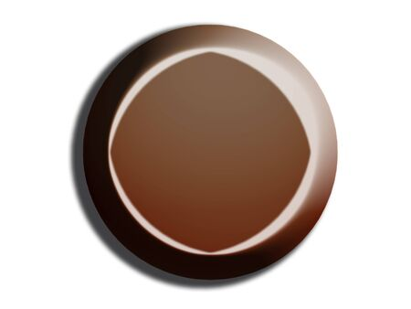 3d button: Black chocolate circle 3d button top view on white background Stock Photo