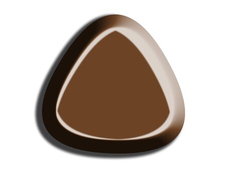 triangle button: Chocolate triangle button isolated on white background Stock Photo