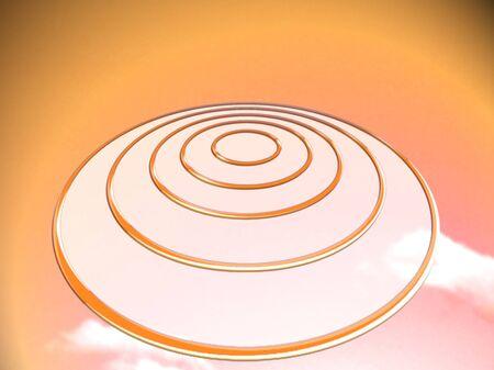 ufos: Orange circular UFO illustration Stock Photo