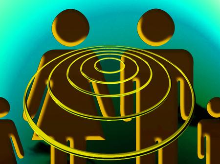 hypnotized: Family hypnosis with an ufo Stock Photo