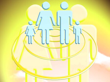 abducted: Couple projecting a family conceptual stock image illustration